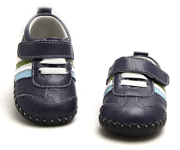 Leather baby boy sneakers Mario navy blue with colourful stripes