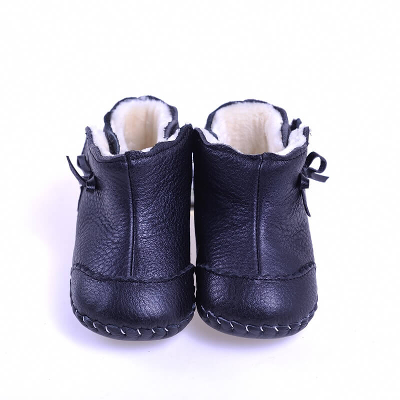 Mia black leather baby girls first walker boots