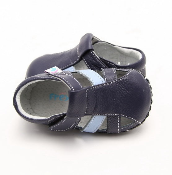 Sailor baby boy sandals navy leather top view