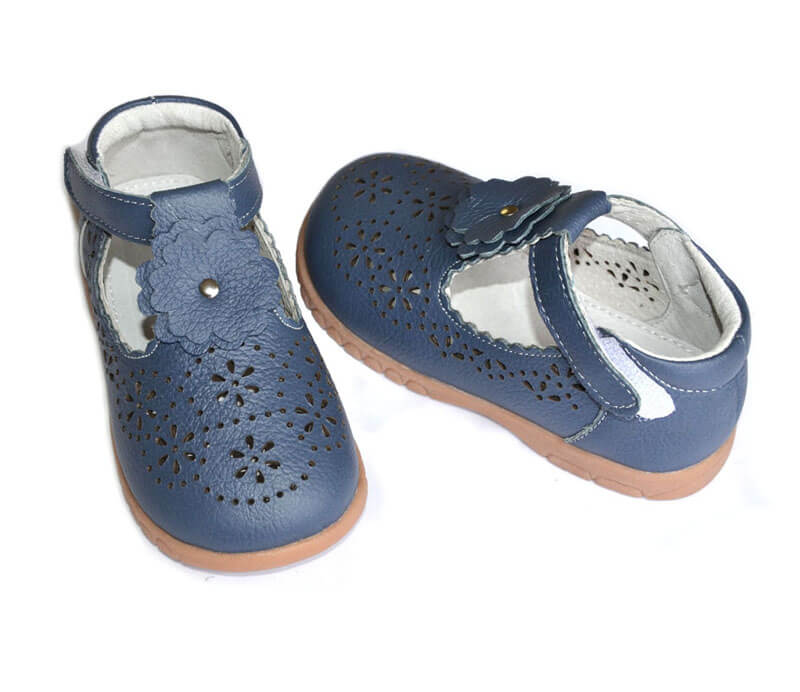 Girl shoes Forget Me Not navy leather t bar kids shoes front and back view