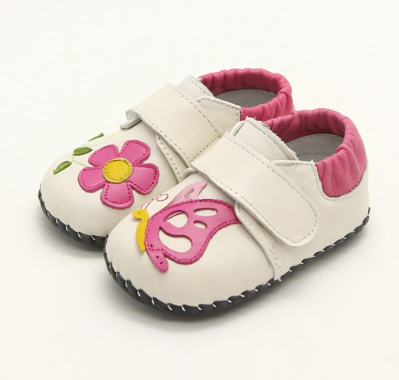 Nectar cream first walker baby shoes with flower and butterfly detail