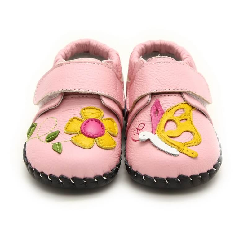 Nectar pink leather baby sneakers front view