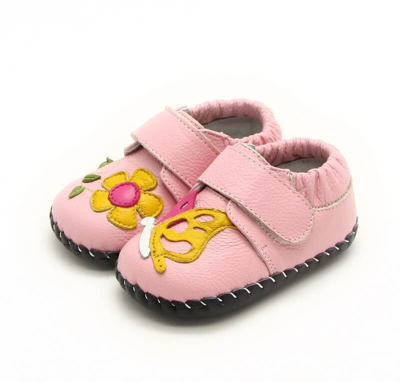 Nectar pink leather baby shoes side view