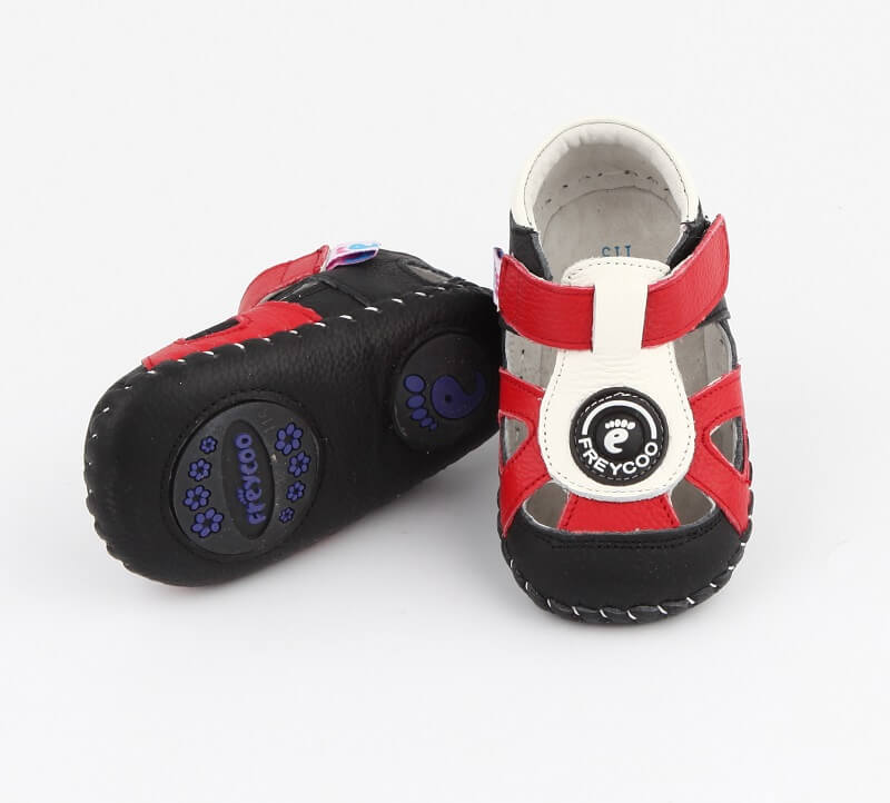 Ollie leather toddler sandals red whiter and black first walker boys sandals
