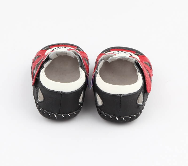 Ollie leather toddler boys sandals back view