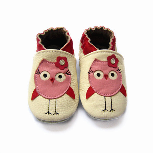 Owl soft sole baby shoes baby girls shoes white leather pink owl
