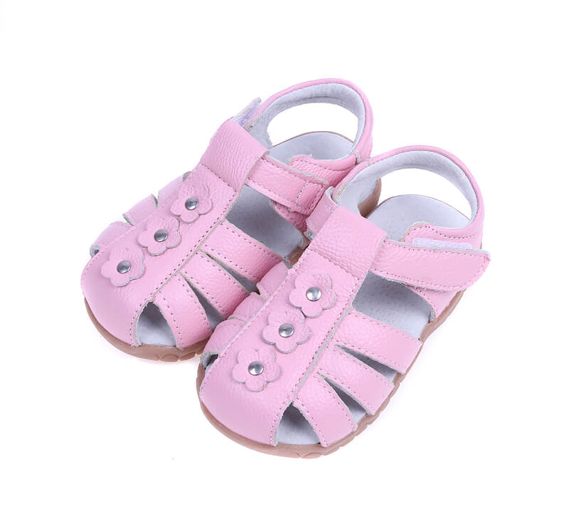 Petal pink leather toddler sandals and girls sandals