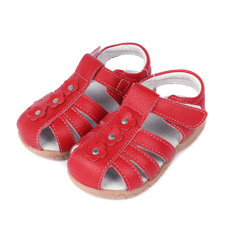 Petal red leather toddler sandals and girls sandals