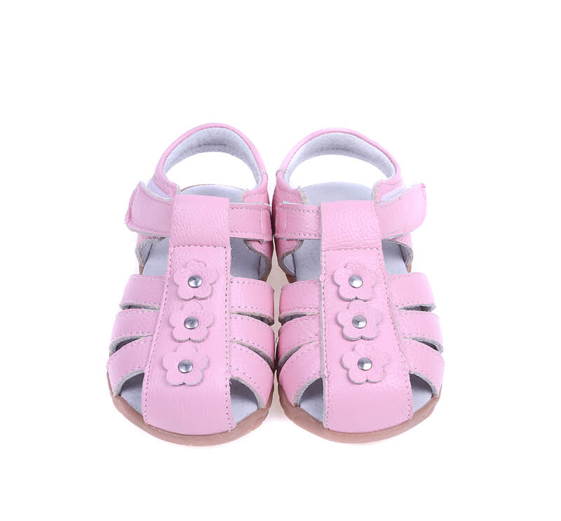 Petal pink leather toddler girls sandals with closed toe
