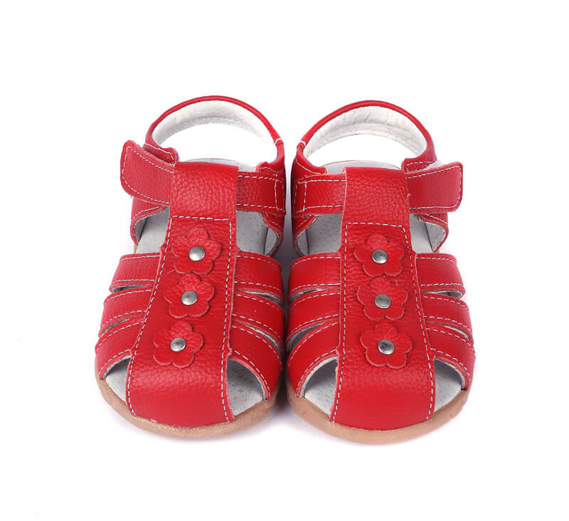Petal red leather toddler girls sandals with closed toe