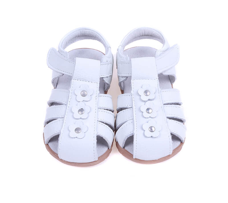 Petal white leather girls sandals with closed toe