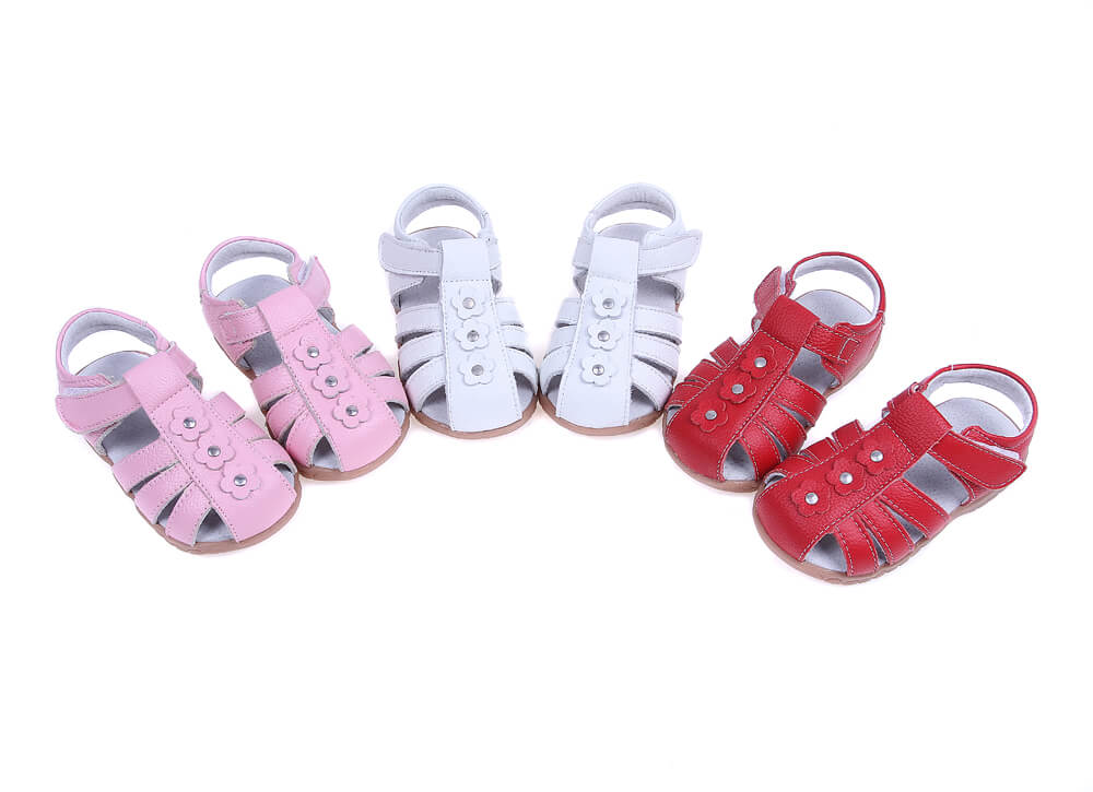 Petal toddler girl sandals available in pink white and red