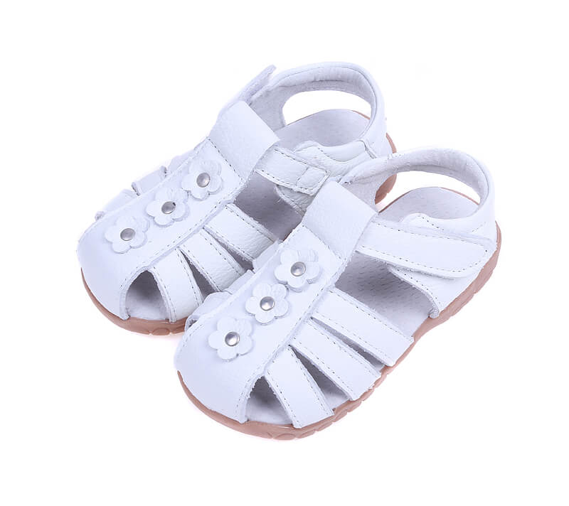 Petal white leather toddler sandals and girls sandals