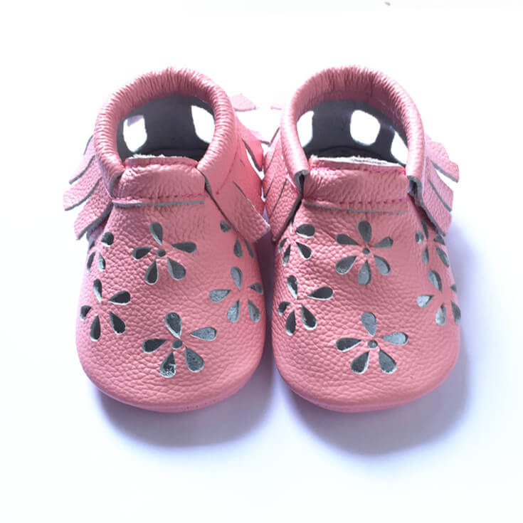 Petunia baby girl soft sole baby shoes pink moccasins with flower cut outs