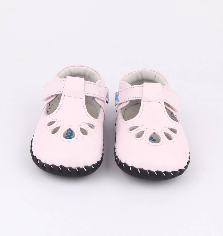 pink leather baby sandals front view