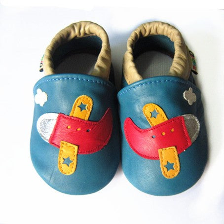 Planes soft sole baby shoes blue leather with aeroplane