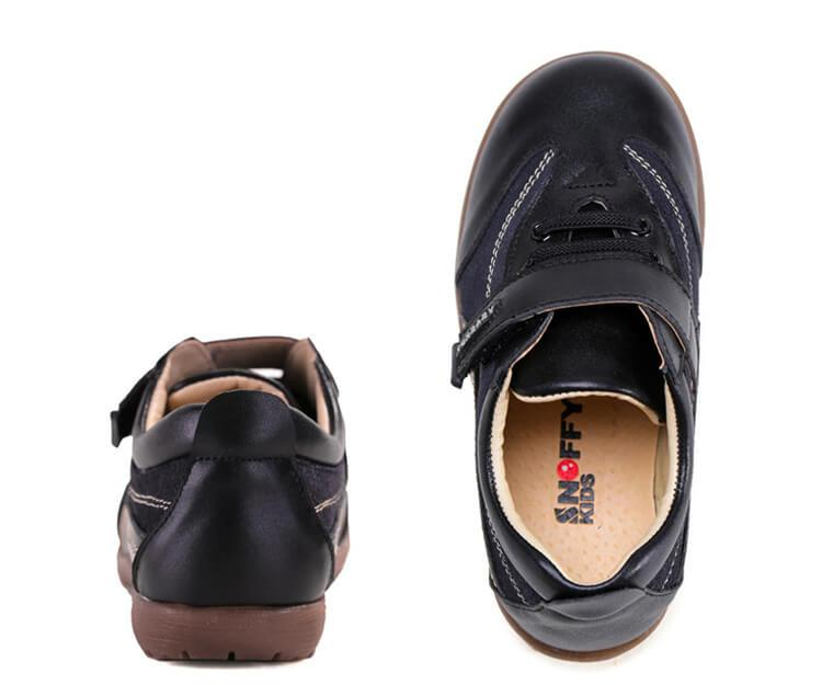Playground boys school shoes black leather school sneakers