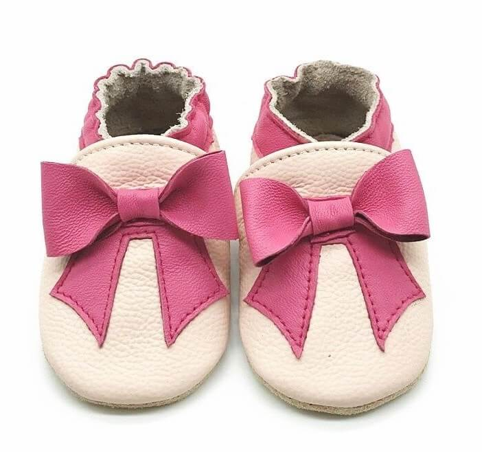 Pretty in pink soft sole baby shoes pink leather with vibrant pink bow