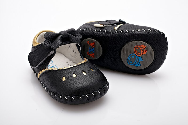 Princess black leather mary jane baby shoes flexible leather sole