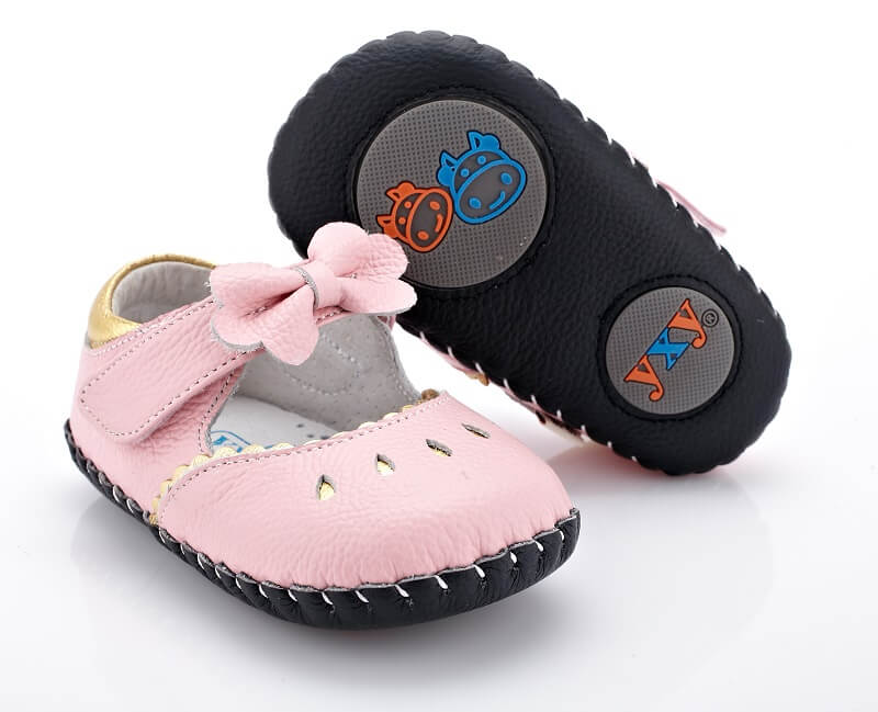 Princess pink leather mary jane baby shoes flexible leather sole