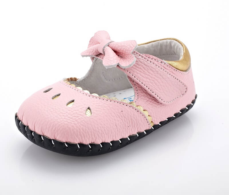 Princess pink leather mary jane baby shoes side view