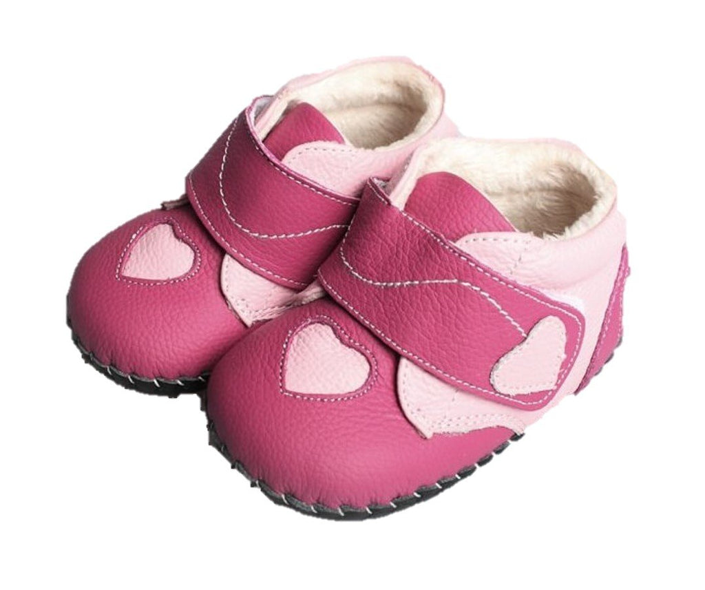 Pink leather baby girl boots Princess of Hearts