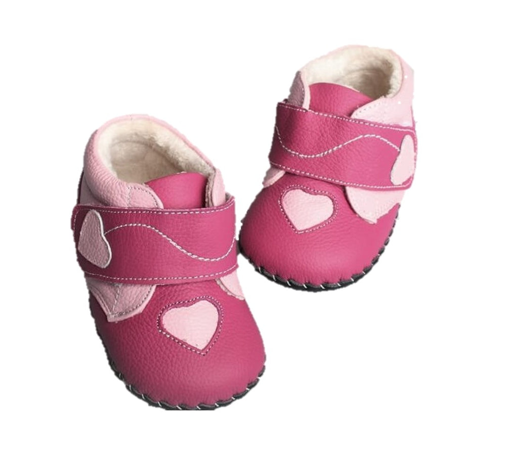 Leather first walker baby boots Princess of Hearts pink with hearts