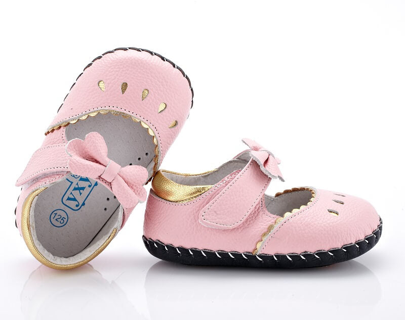 Princess pink leather mary jane baby shoes top view