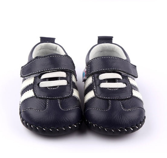 Racer leather baby shoes navy first walker sneakers front view