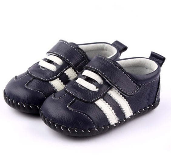 Racer navy baby shoes first walker leather baby sneakers