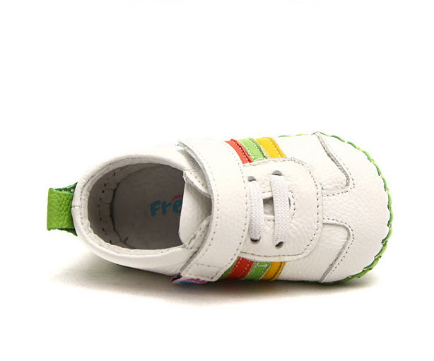 Rainbow leather first walker baby sneakers top view