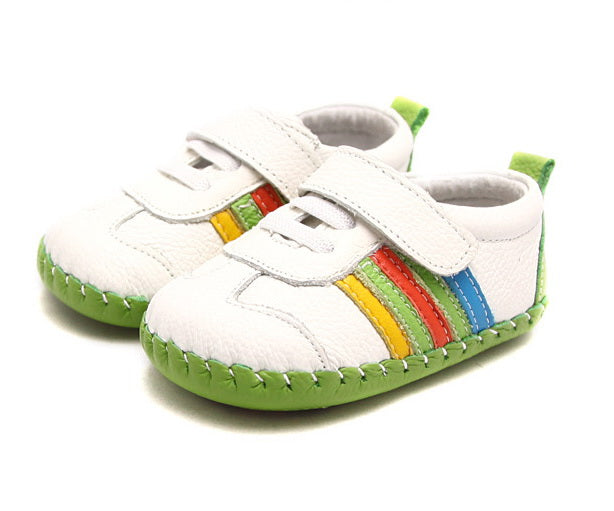 Baby shoes white leather with rainbow stripes first walker baby shoes
