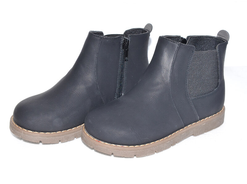 Raven black leather toddler boots