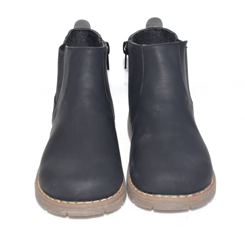 Raven toddler boots black leather front view