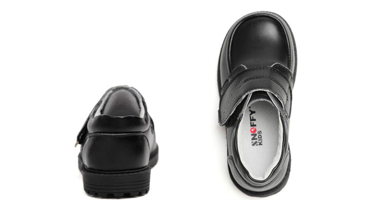Recess black leather boys shoes school shoes