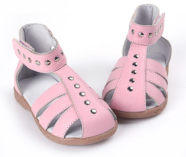 Rock About girl's sandals pink leather with high ankle cuff