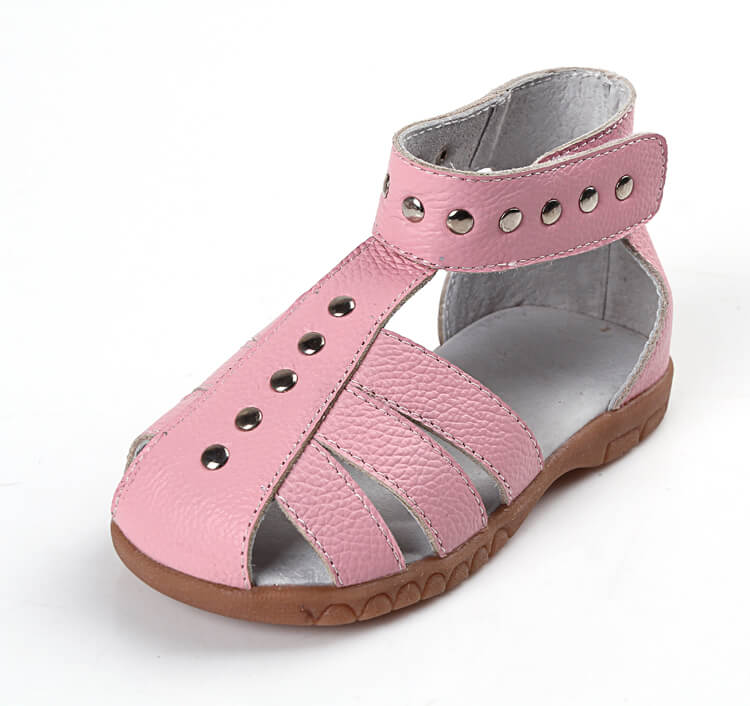 Rock About pink leather toddler girl sandals side view