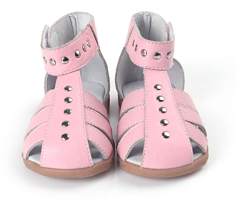 Rock About pink leather toddler girls sandals front view
