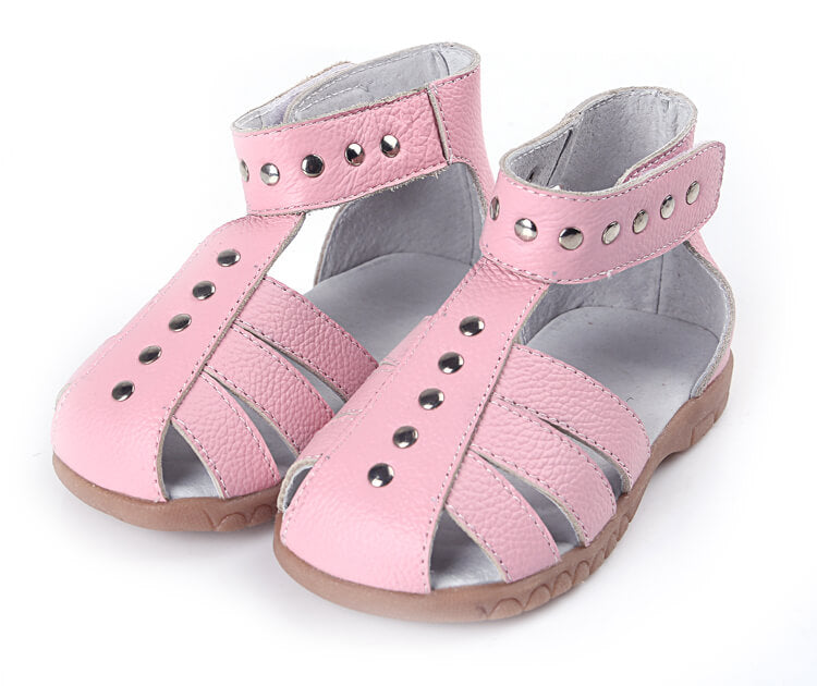 Rock About pink leather girls sandals