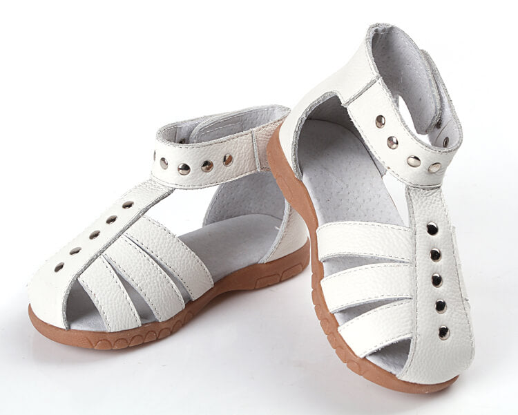 Rock About toddler girl leather sandals white
