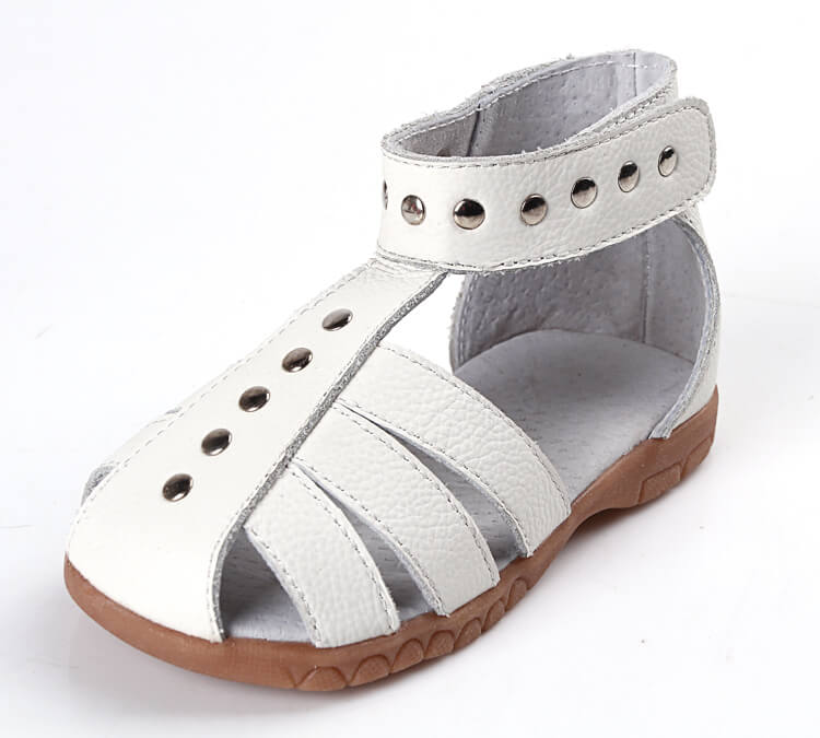 Rock About white leather toddler girl sandals side view