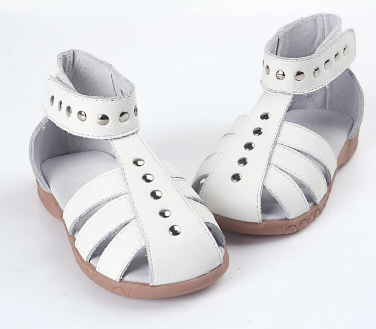 Rock About girl's sandals white leather with high ankle cuff