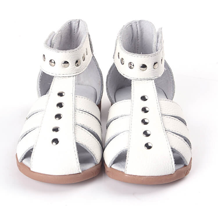 Rock About white leather toddler girls sandals front view