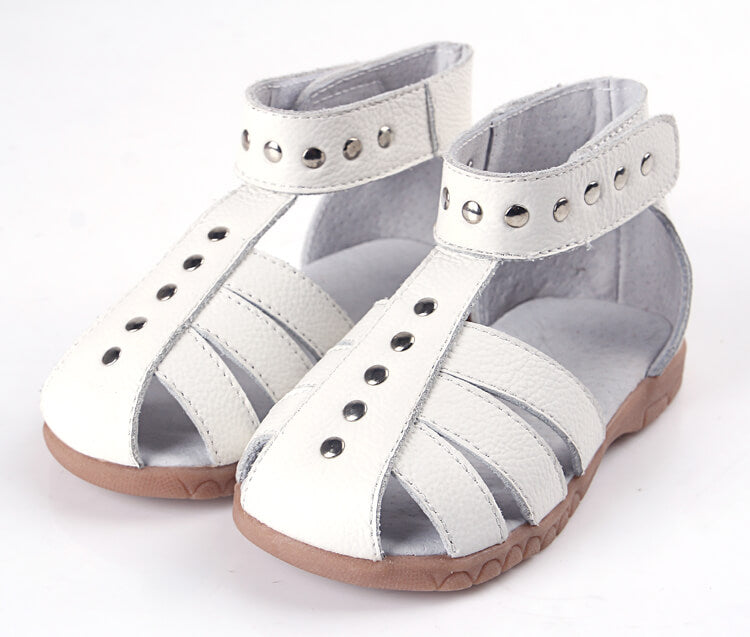 Rock About white leather girls sandals