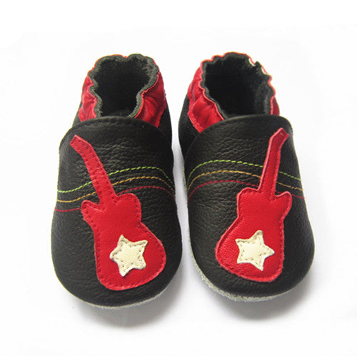 Rock On black leather soft sole baby shoes with red guitar
