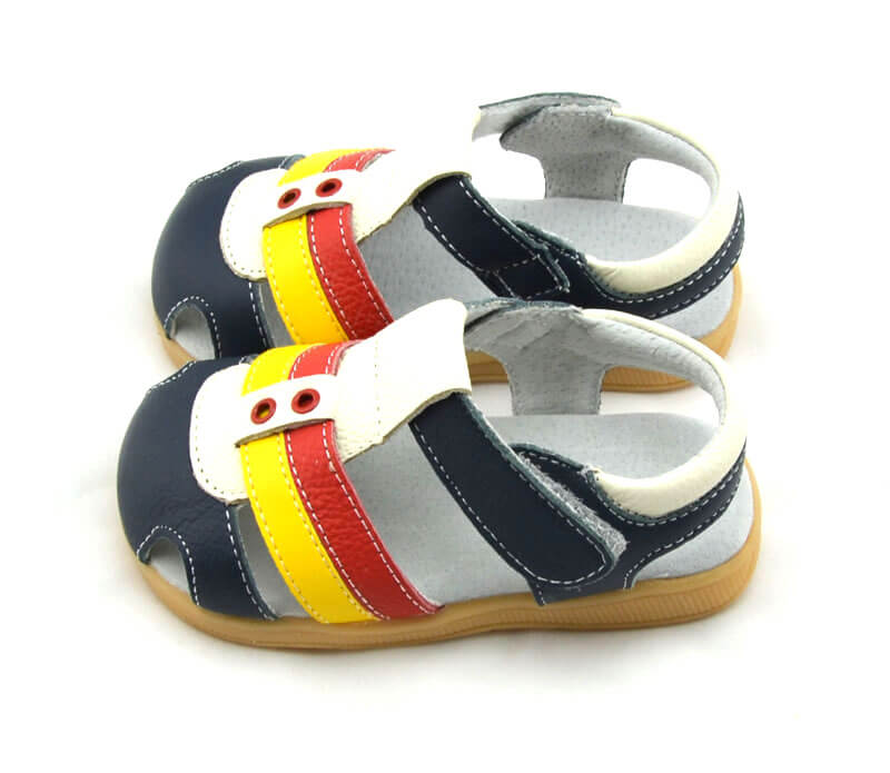 Ronan navy leather toddler boy sandals side view