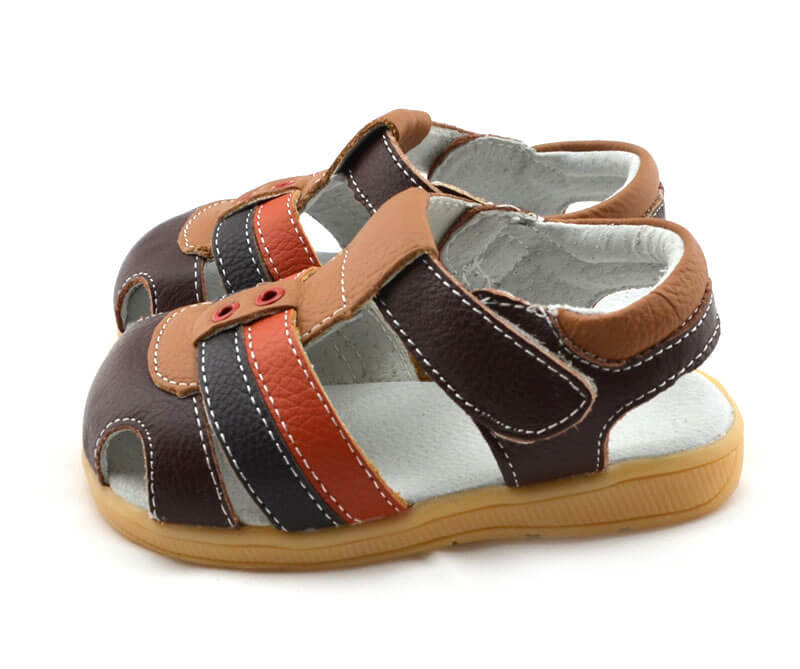 Ronan brown leather toddler boy sandals side view