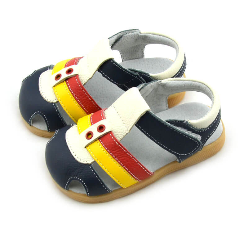 Ronan navy leather toddler boys sandals
