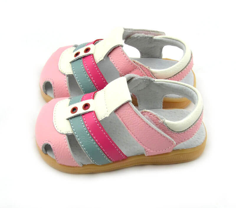 Ronan pink leather toddler girl sandals side view