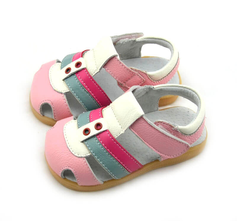Ronan pink leather toddler girl sandals